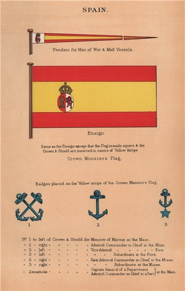 Associate Product SPAIN FLAGS. Man of War & Mail Vessel pendant. Ensign. Crown Minister 1916