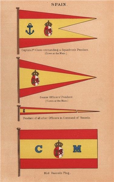 Associate Product SPAIN FLAGS. Captain 1st Class Pendant. Senior Officer. Mail Vessels Flag 1916