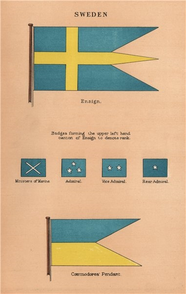 Associate Product SWEDEN FLAGS. Ensign. Vice/Rear-Admiral Admiral badges. Commodores' Pendant 1916