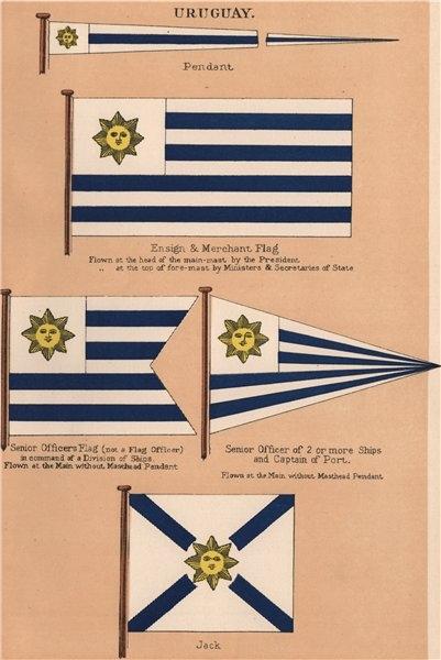 Associate Product URUGUAY FLAGS. Pendant. Ensign & Merchant Flag. Senior officer. Jack 1916