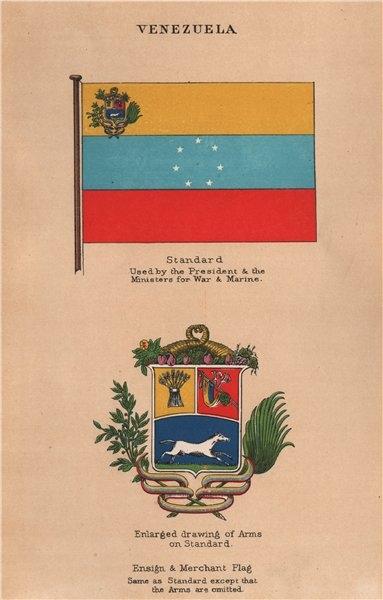 Associate Product VENEZUELA FLAGS Standard President Minister War/Marine Arms Ensign Merchant 1916