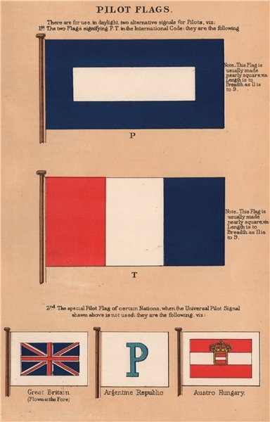 Associate Product PILOT FLAGS. P. T. Great Britain. Argentine Republic. Austro Hungary 1916