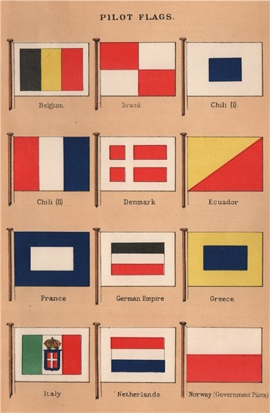 Associate Product PILOT FLAGS Belgium Brazil Chile Denmark France Germany Greece Italy Norway 1916