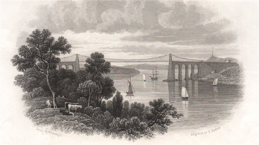 Associate Product The Menai Straits, Wales, by Henry Gastineau 1835 old antique print picture