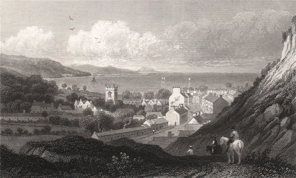 Associate Product Bangor, Caernarfonshire, Wales, by Henry Gastineau 1835 old antique print