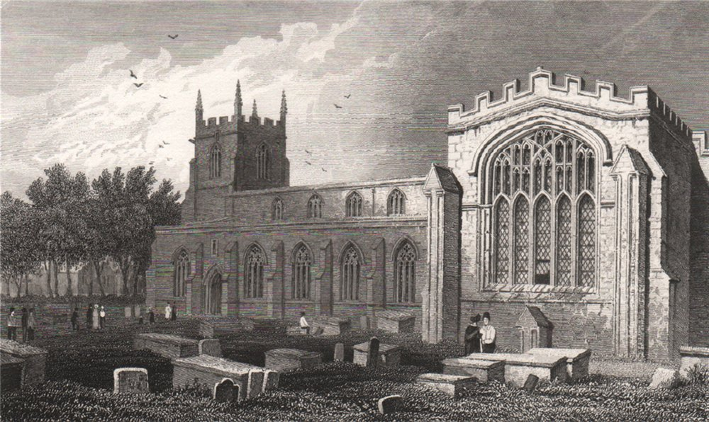 Bangor Cathedral, Caernarfonshire, Wales, by Henry Gastineau 1835 old print