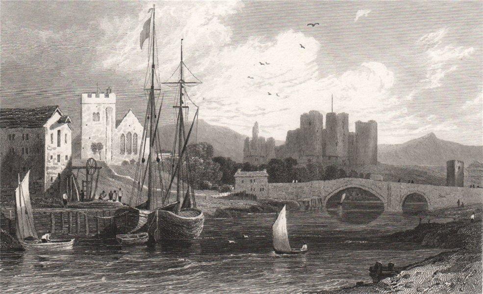 Rhuddlan Castle, Flintshire, Wales, by Henry Gastineau 1835 old antique print