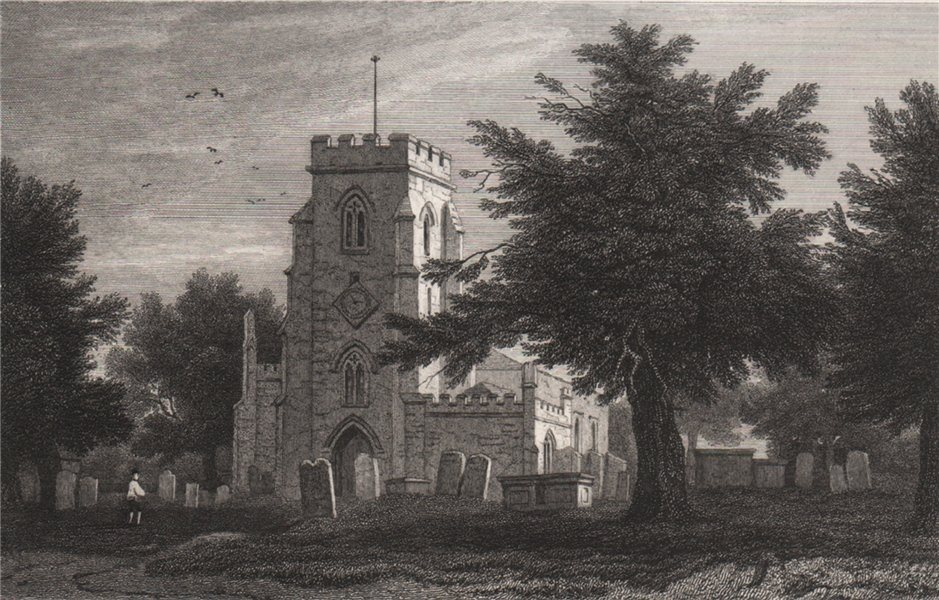 Associate Product Overton-on-Dee Church, Flintshire, Wales, by Henry Gastineau 1835 old print