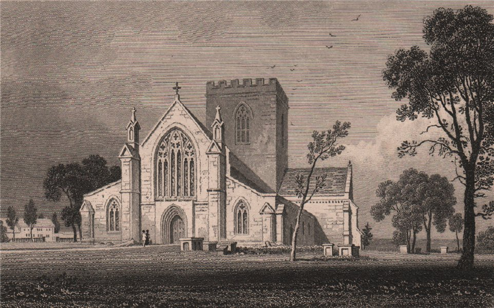 Associate Product St. Asaph Cathedral, Flintshire, Wales, by Henry Gastineau 1835 old print