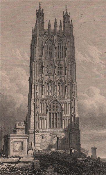 Associate Product Tower of Wrexham Church, Denbighshire, Wales, by Henry Gastineau 1835 print