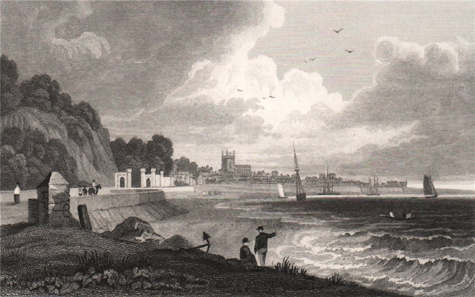Associate Product Beaumaris, Isle of Anglesey, Wales, by Henry Gastineau 1835 old antique print