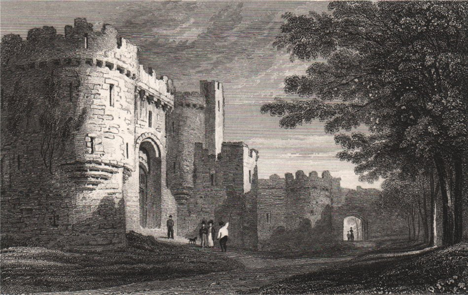 Associate Product Entrance to Beaumaris Castle, Wales, by Henry Gastineau 1835 old antique print
