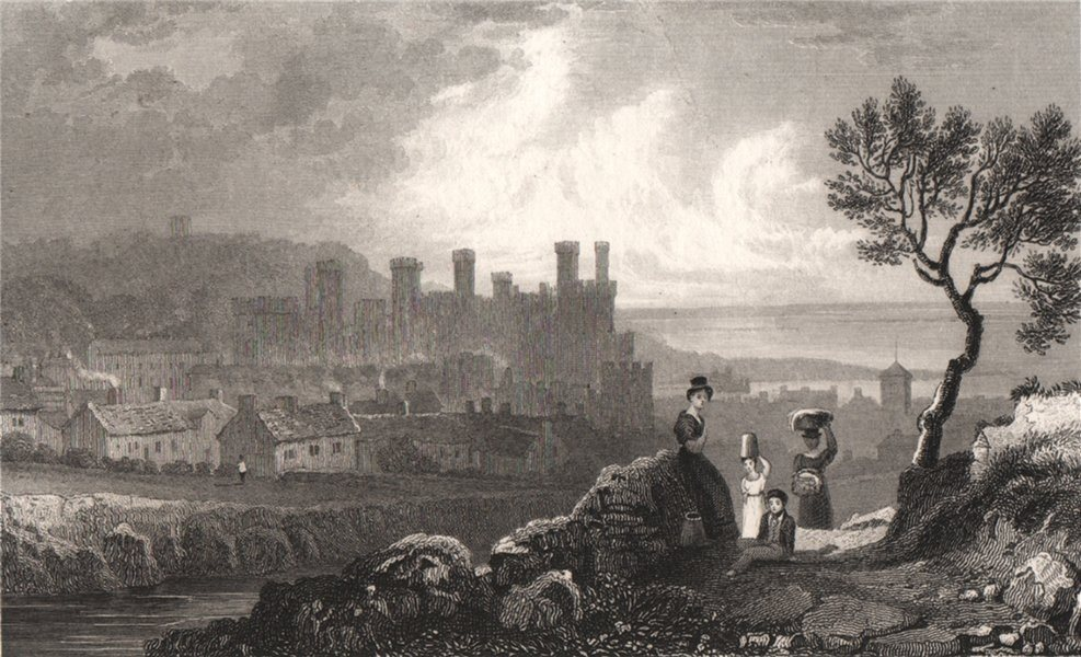 Associate Product Caernarfon, Wales, by Henry Gastineau 1835 old antique vintage print picture