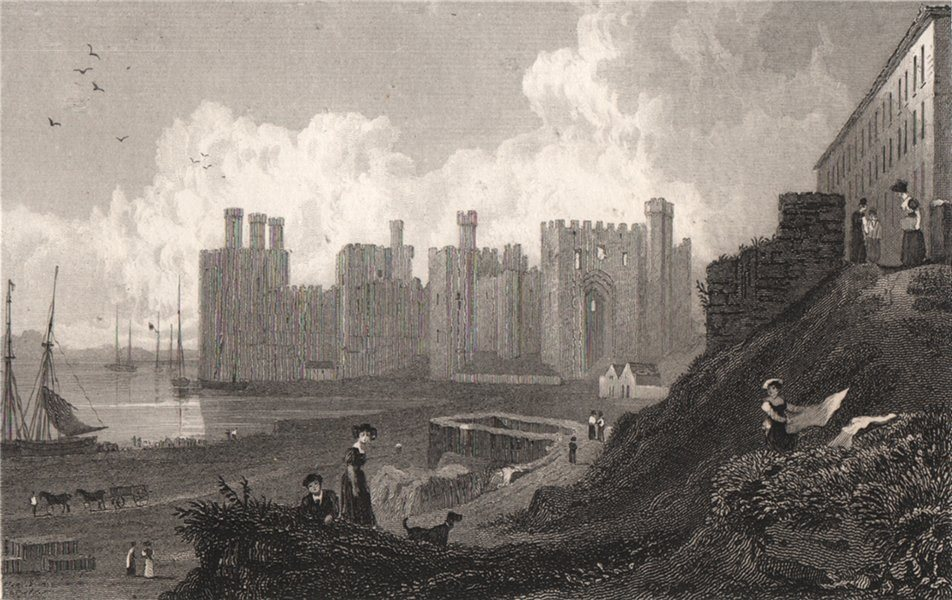 Associate Product Caernarfon Castle, Wales, by Henry Gastineau 1835 old antique print picture