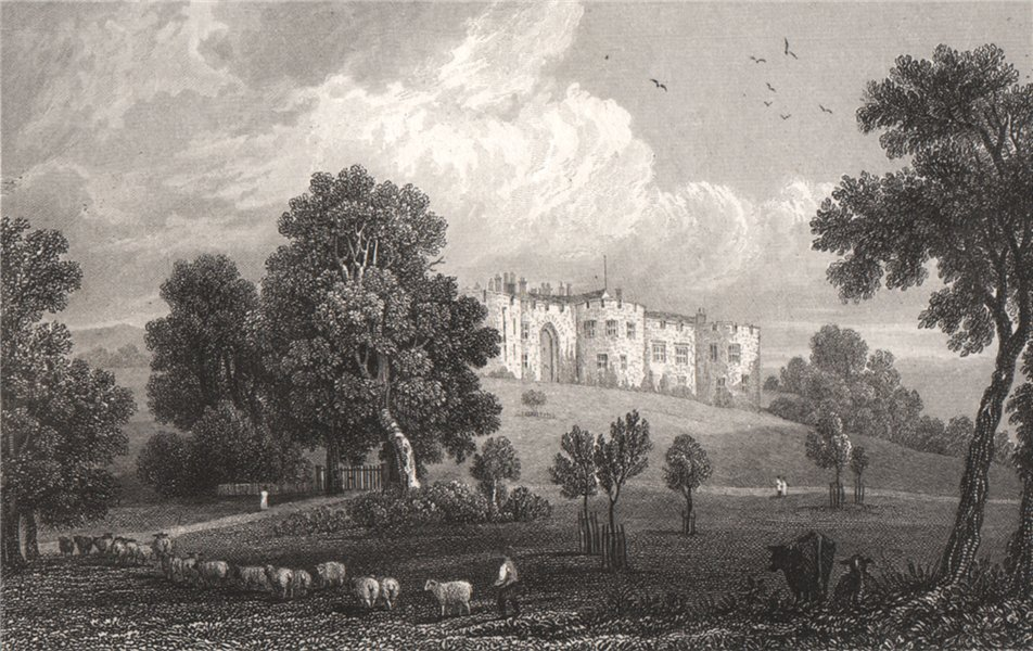 Associate Product Chirk Castle, Denbighshire, Wales, by Henry Gastineau 1835 old antique print