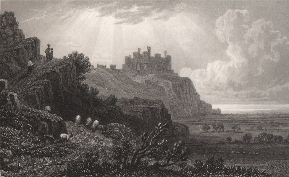 Associate Product Harlech Castle from the Tremadog Road, Merionethshire. Gastineau. Snowdonia 1835