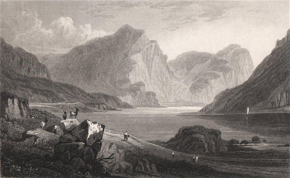 Associate Product Llyn Ogwen, Caernarfonshire, Wales, by Henry Gastineau. Snowdonia 1835 print