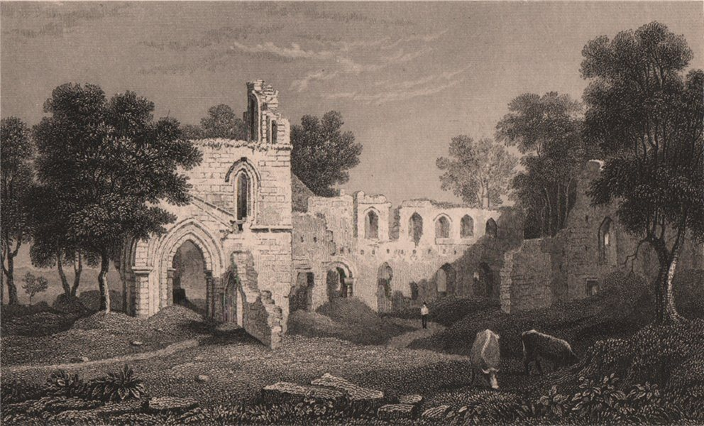 Associate Product Basingwerk Abbey (Abaty Dinas Basing) Flintshire, Wales, by Henry Gastineau 1835