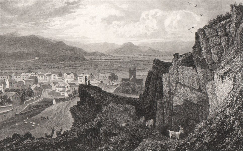 Associate Product Machynlleth, Montgomeryshire, Wales, by Henry Gastineau 1835 old antique print