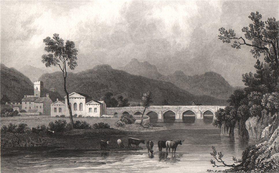 Dolgellau, Merionethshire, Wales, by Henry Gastineau. Snowdonia 1835 old print