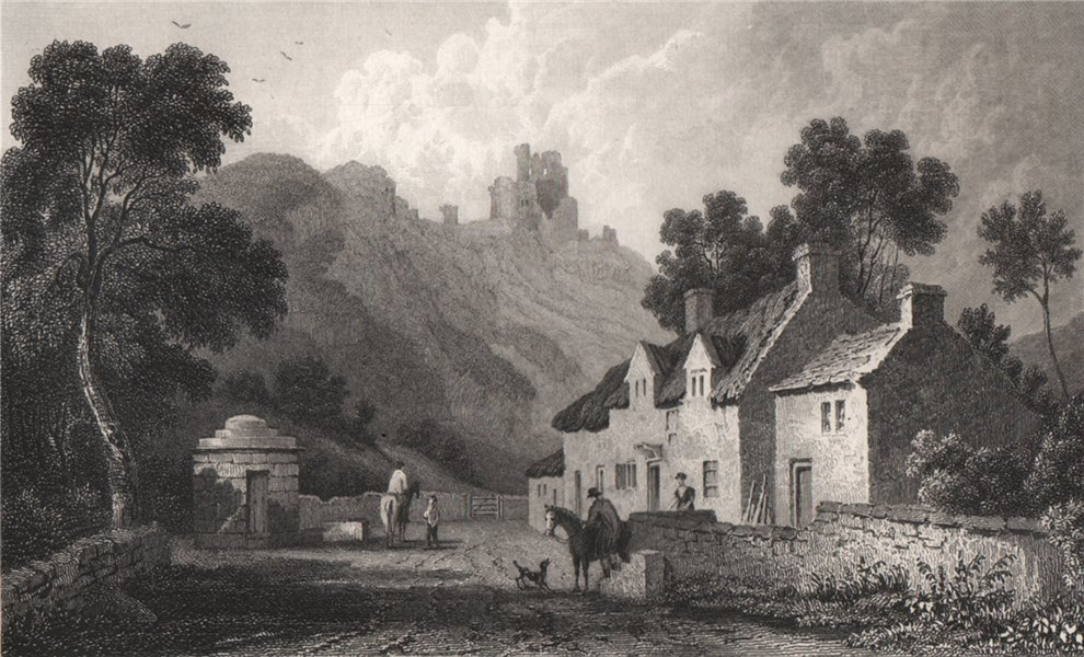 Associate Product Caergwrle, Flintshire, Wales, by Henry Gastineau 1835 old antique print