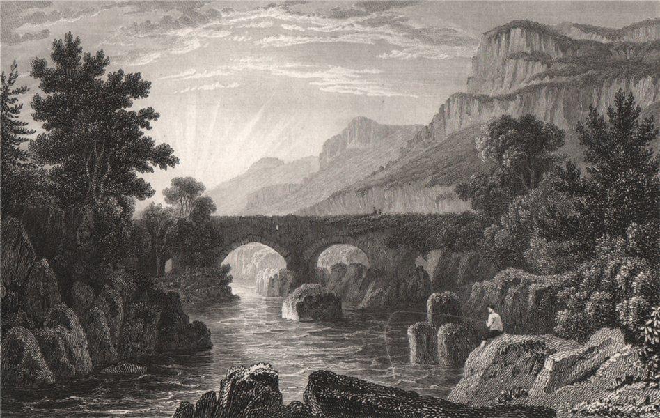 Associate Product Pont-y-Pair, Caernarfonshire, Wales, by Henry Gastineau. Snowdonia 1835 print