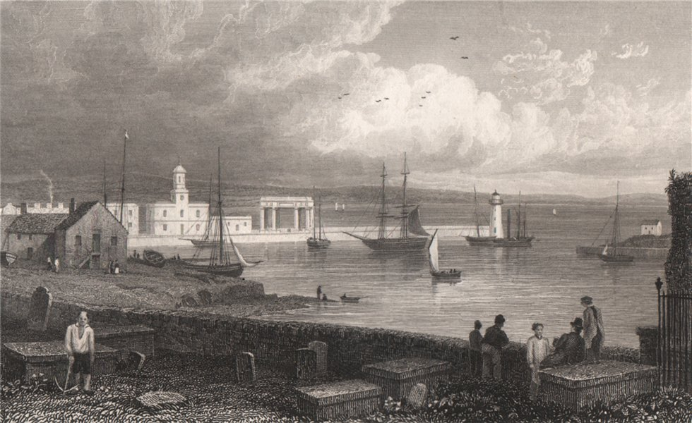 Associate Product The Harbour, Holyhead, Wales, by Henry Gastineau 1835 old antique print