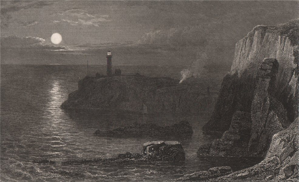 Associate Product South Stack Light House, near Holyhead, Wales, by Henry Gastineau 1835 print