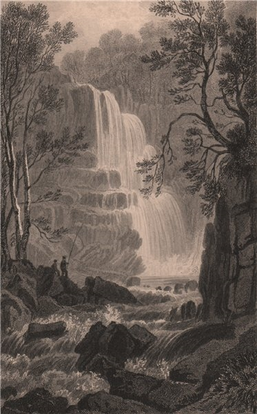 Associate Product Pistyll Cain, Merionethshire, Wales, by Henry Gastineau. Snowdonia 1835 print