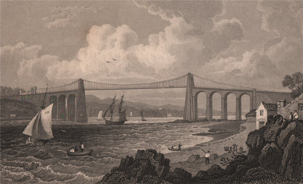 Associate Product Menai Bridge from the Anglesey side, Wales, by Henry Gastineau 1835 old print