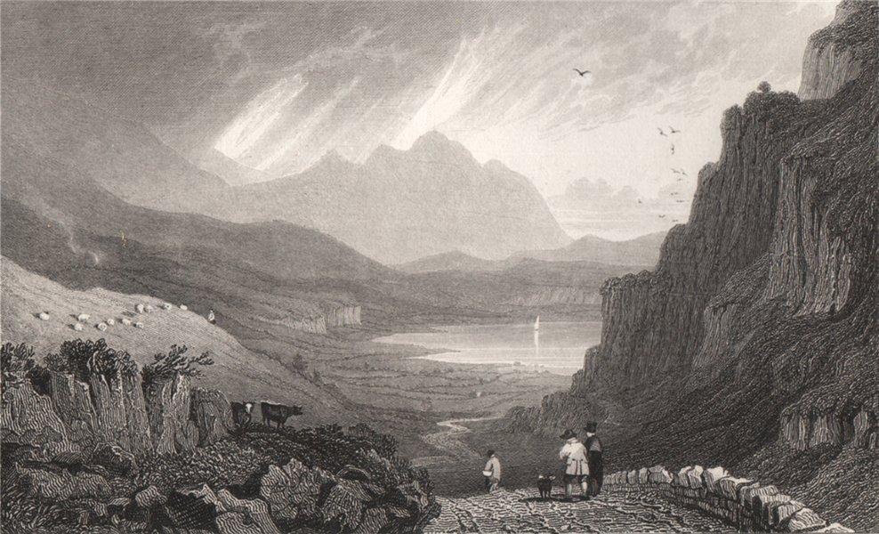 Associate Product Llyn Gwynant, Caernarfonshire, Wales, by Henry Gastineau. Snowdonia 1835 print