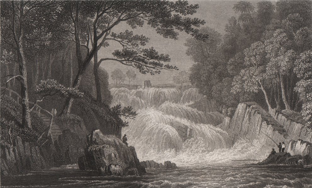 Associate Product Rhaeadr Ewynnol (Swallow Falls), near Capel Curig. Gastineau. Snowdonia 1835