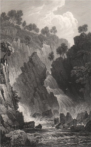 Associate Product Fall of the Conwy, Caernarfonshire, Wales, by Henry Gastineau. Snowdonia 1835