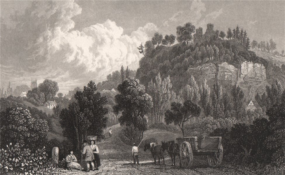Associate Product Montgomery, Wales, by Henry Gastineau 1835 old antique vintage print picture