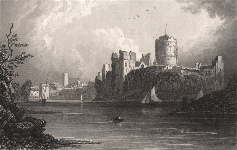 Associate Product Pembroke Town, and Castle, Wales, by Henry Gastineau 1835 old antique print