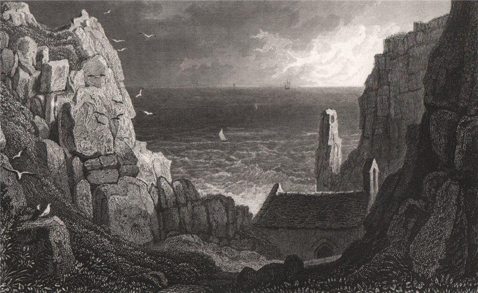 Associate Product St Govan's Chapel, near Pembroke, Wales, by Henry Gastineau 1835 old print