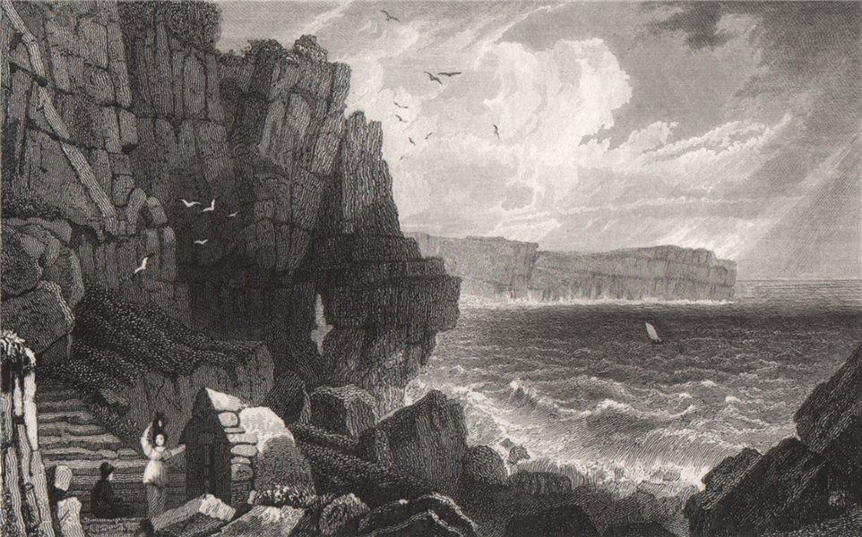 Associate Product Sainted Well, at St Govan's, Pembrokeshire, Wales, by Henry Gastineau 1835