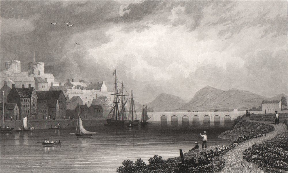 Associate Product Carmarthen, Wales, by Henry Gastineau 1835 old antique vintage print picture