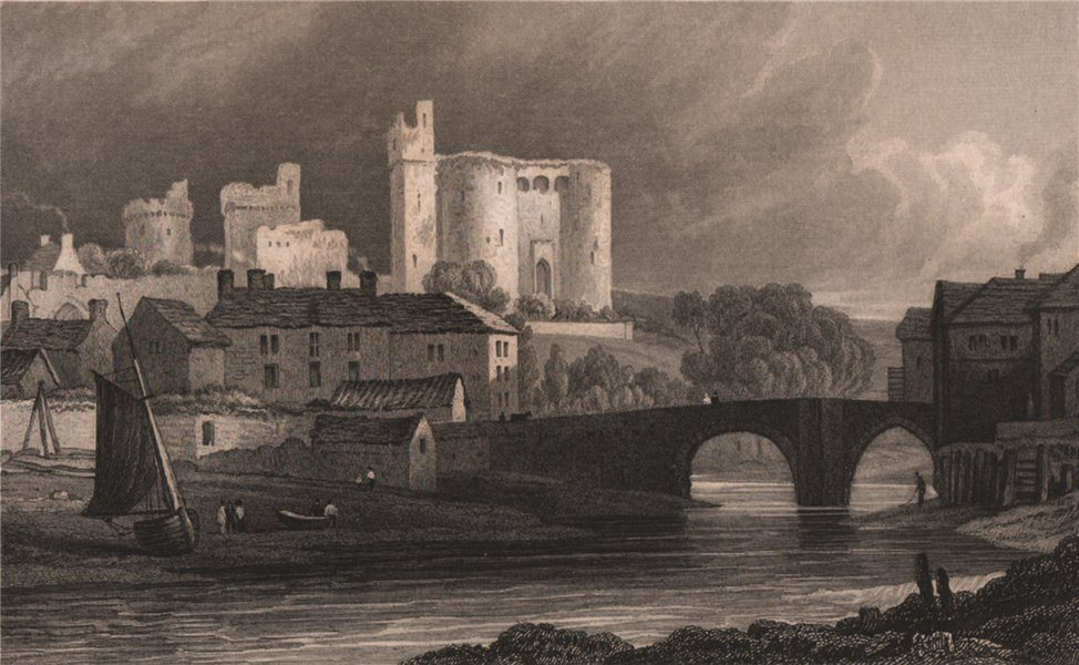 Kidwelly Castle & Bridge, Carmarthenshire, Wales, by Henry Gastineau 1835