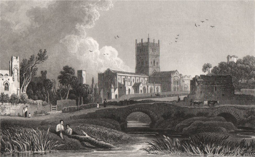 Associate Product St. David's Cathedral, Pembrokeshire, Wales, by Henry Gastineau 1835 old print