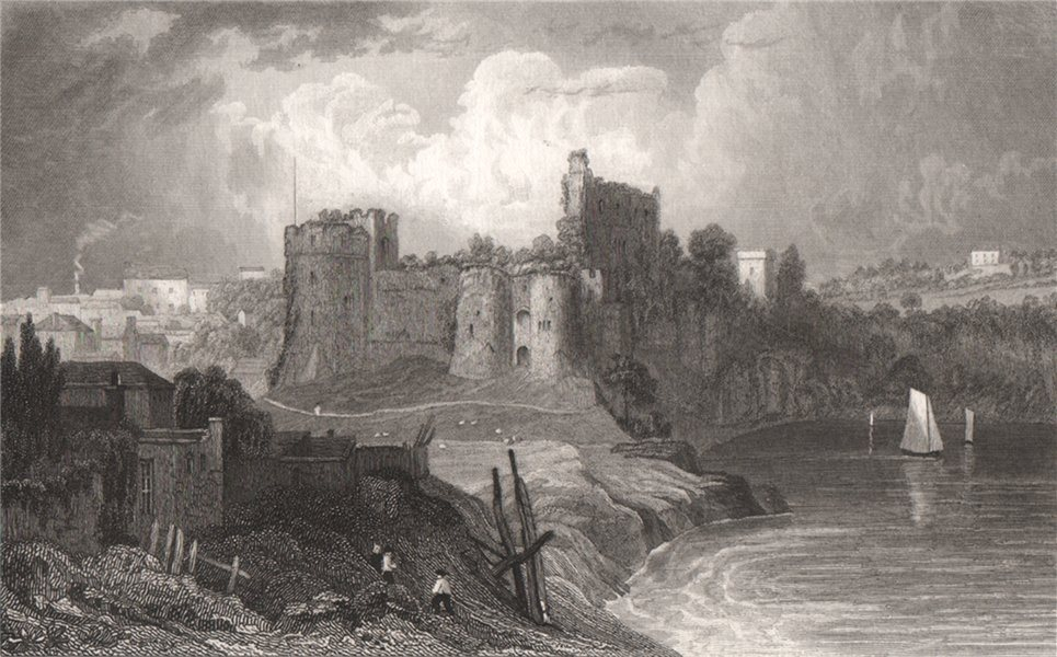 Associate Product Chepstow from the Bridge, Monmouthshire, Wales, by Henry Gastineau 1835 print