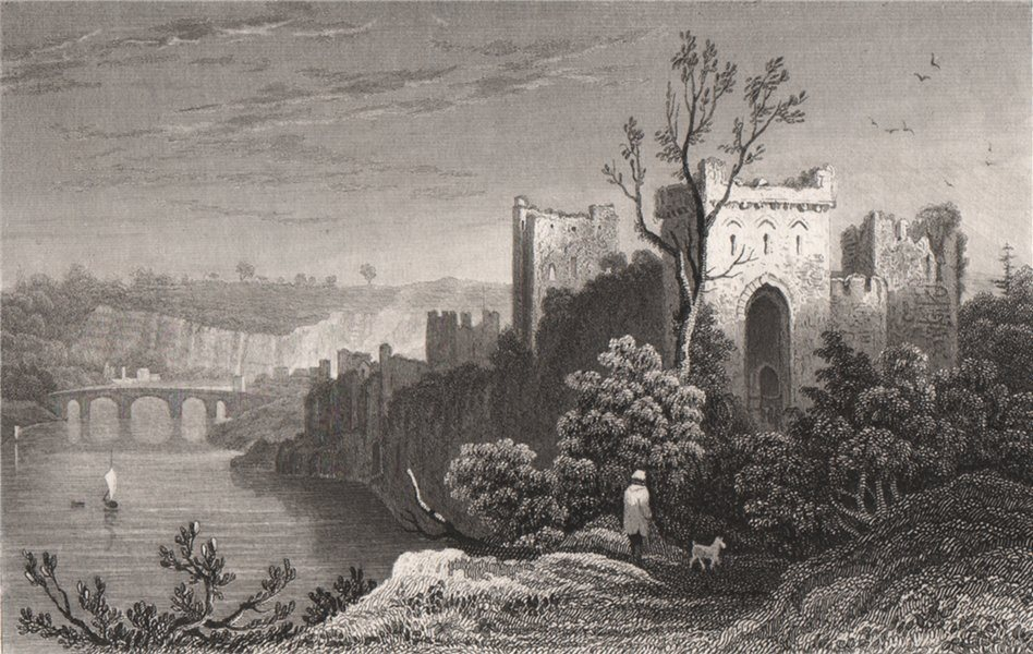 Associate Product Chepstow Castle, Monmouthshire, Wales, by Henry Gastineau 1835 old print