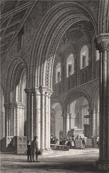 Associate Product The nave of St. David's Cathedral, Pembrokeshire, Wales, by Henry Gastineau 1835