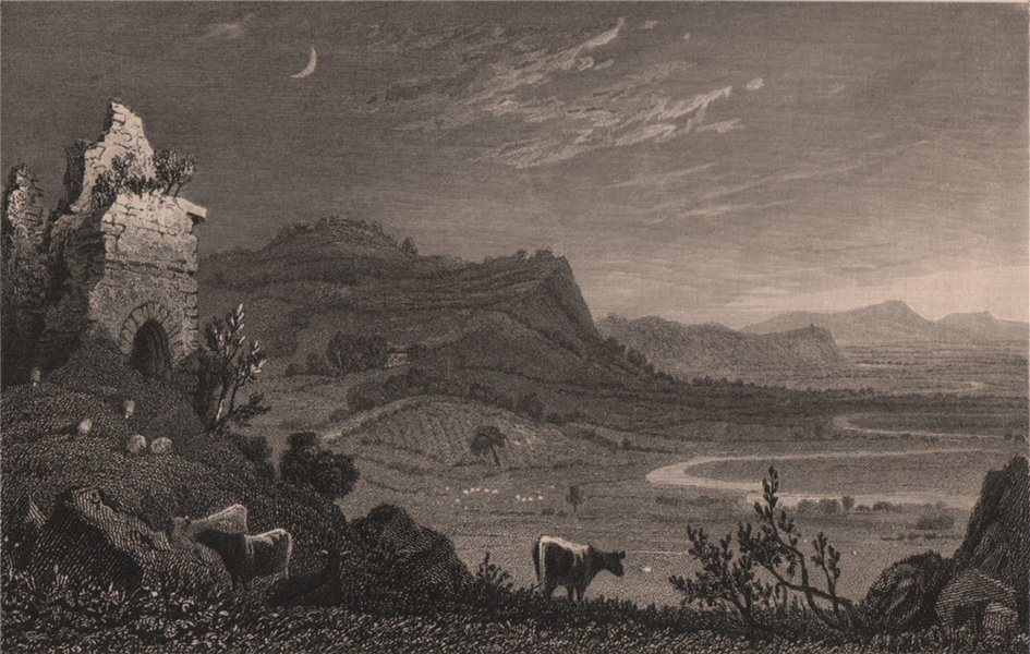 Associate Product Grongar Hill, Carmarthenshire, Wales, by Henry Gastineau 1835 old print