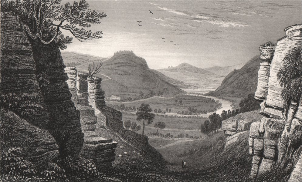 Associate Product The Wye at Aberedw, Radnorshire, Wales, by Henry Gastineau 1835 old print
