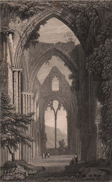 Associate Product Interior of Tintern Abbey, Monmouthshire, Wales, by Henry Gastineau 1835 print