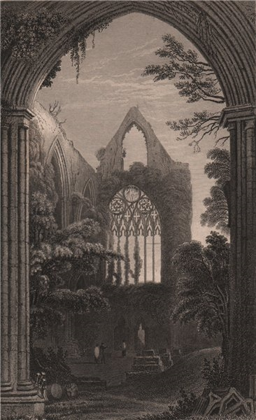 Associate Product West window of Tintern Abbey, From the north transept, by Henry Gastineau 1835