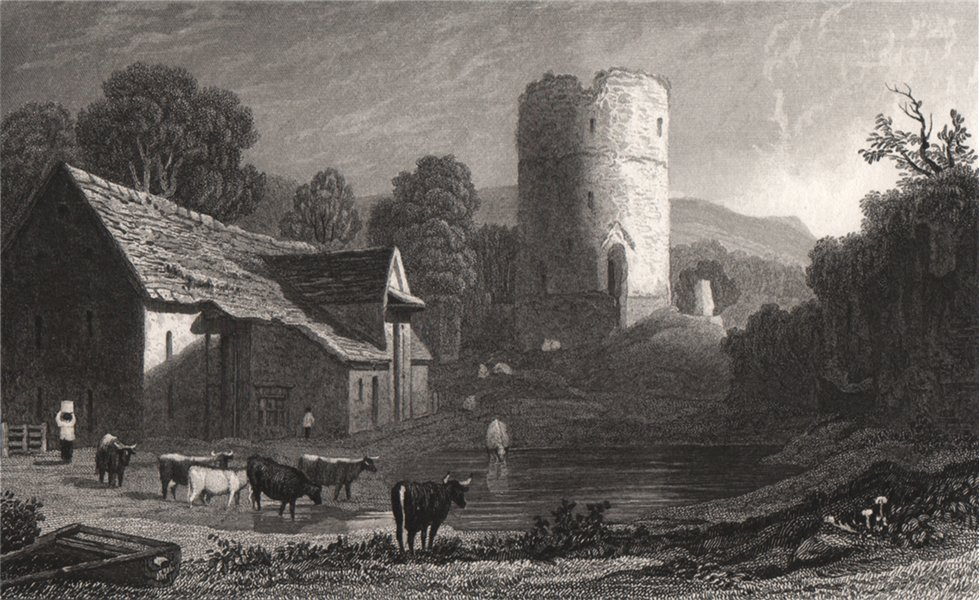 Associate Product Tretower, Brecknockshire, Wales, by Henry Gastineau 1835 old antique print