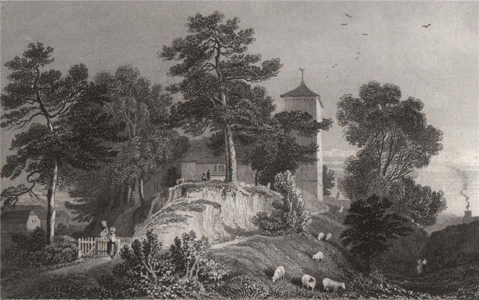 Associate Product Hay-on-Wye Church, Brecknockshire, Wales, by Henry Gastineau 1835 old print