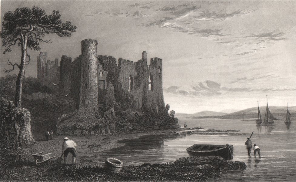 Associate Product Llaugharne Castle, Carmarthenshire, Wales, by Henry Gastineau 1835 old print